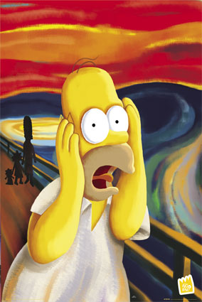 Homer Simpson urla alla maniera del soggetto di Munch